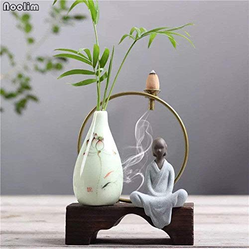 Sculpture Living Room Retro Chinese stijl Ceramic Vase Ornamenten Hand beschilderde vaas Flower Celadon Backflow Wierookbrander, 11,07 (Color : 04)