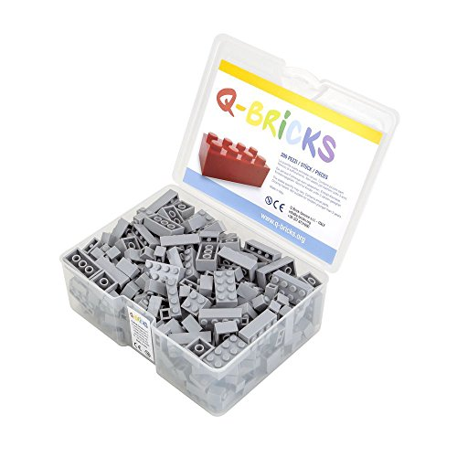 Q-Bricks Box 300Stck. Unicolor Bausteine in 5 Standardformaten: 2X4, 1X4, 2X2, 1X2 e 1X1 Noppen, Fenstergrau 411
