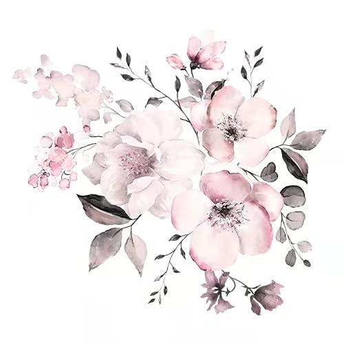 QINDONG Papel Pintado De Flores De Acuarela Rosa, Pegatinas De Pared De Flores Rosadas, Arte De Pared De Hierba Azul, Vinilo, Decoración De Café De La Sala De Estar del Dormitorio
