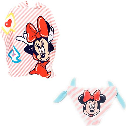 Minnie Mouse Disney Bañador Minnie Mouse Culetín para Baño + Poncho Toalla Playa o Piscina (6 años, Modelo 1)
