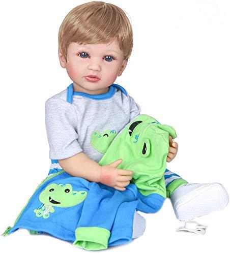 ROSHUAN Reborn Baby Boy 22 inch Realistic Reborn Toddler Boy Dolls Lifelike Full Body Silicone Vinyl Reborn Boy Doll as Gift Set for Kids Age 3+