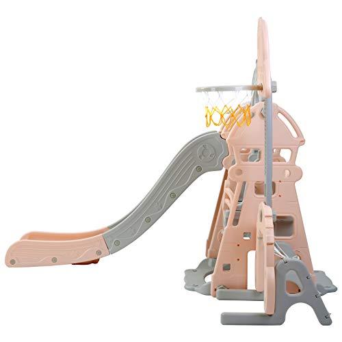Takefuns - Set di scalatori e altalena 5 in 1 per bambini, in plastica con cerchio da basket removibile, con scivolo extra lungo e palla, scaletta facile per interni ed esterni