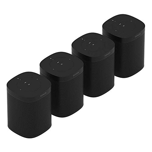 Sonos One (Gen 2) Multi-Room Voice Controlled Smart Speakers Bundle (4-Pack) - Black