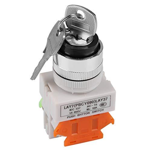 Interruptor giratorio con llave LAY37-11Y / 21, interruptor giratorio con bloqueo de llave de 2 posiciones, interruptor con llave de montaje de 22 mm