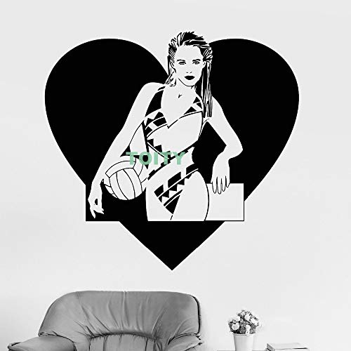zhuziji Vinilo Tatuajes de Pared Beach Volleyball Girl Swimsuit Heart Sticker Home Room Decoración Interior l68.4x73.2cm