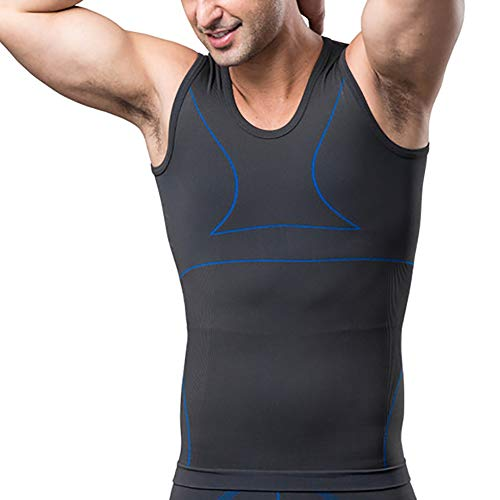 G&F Herren Brüste/Bauch Verstecken Kompressionsweste Gynäkomastie Moobs Abnehmen Body Shaper Bauchkontrolle M-XXL (Color : Blue, Size : XL)