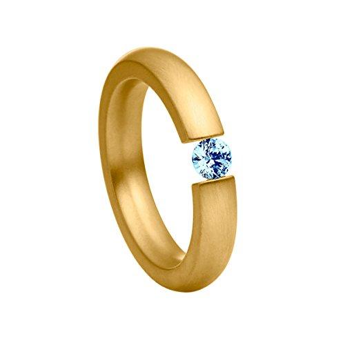Heideman Ring Damen Spannring schmal aus Edelstahl Gold farbend matt Damenring für Frauen mit Swarovski Stein Zirkonia blau im Brillant Schliff 4mm