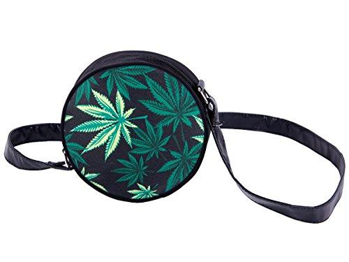 Alsino Rundtasche Umhängetasche Handtasche Schultertasche Abendtasche Outdoor Tasche, Variante wählen:HT-028 Marihuana