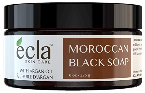Moroccan Black Soap with Organic Argan Oil - 100% Pure Natural Exfoliating Soap for Face and Body (Large 8 Ounce ) Moisturizer and Cleanser for Hammam, Bath and Shower