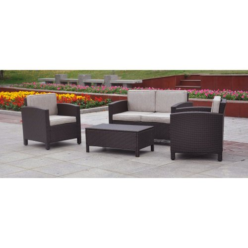 Hot Sale St. Marten 4 Piece Deep Seating Group with Cushions Fabric: Chocolate Resin w/ Tweed Fabric
