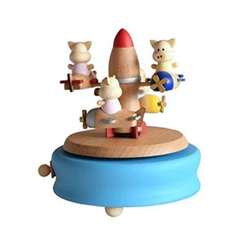 Chonor Escenarios Innovadores Caja de Música de Madera, Primo Creativo Manivela de Madera Artesanías Caja de Música - Cerdo Cohete - Mejor Regalo y Decoraciones Idea para Cumpleaños, Navidad