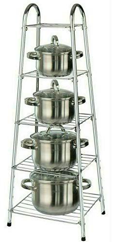 St@llion Chrome 5 Tier Pan Stand Pot Saucepan,Frying Pan,Rack Multi-Functional Kitchen Storage Organizer Holder Unit