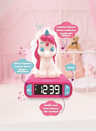 Lexibook-RL800UNI Veilleuse Enfant, Lumineuse, Effets sonores Licorne, Horloge, réveil pour Fille, Snooze, Couleur Rose, RL800UNI