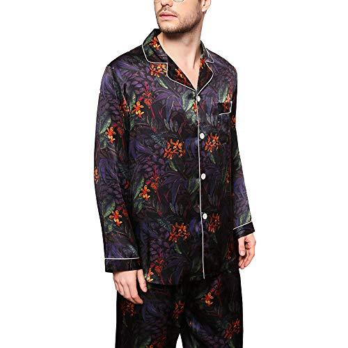 FHISD Pijamas de Seda para Hombre Pijamas de Seda de 2 Piezas Traje de Servicio a Domicilio con Estampado de Solapa Top de Manga Larga + Pantalones