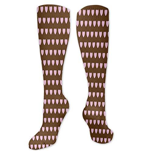 , Amor Temed Patrón con Simétrico Pastel Deporte Calcetines de Compresión Moda Crew Calcetines Hombres Y Mujeres Ligero Y Duradero Calcetines Largos Patrón Casual