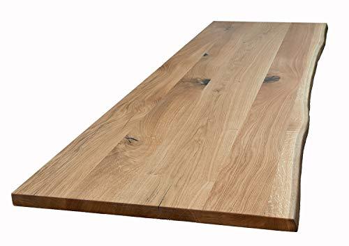 praj Massivholz Tischplatte aus Eiche mit Baumkante 180x90 cm, geölt und naturbelassen