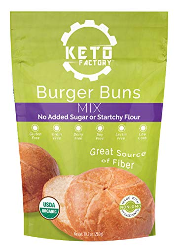 Keto Factory Burger Buns Mix, 9.7 Oz | 100% Natural and Keto Friendly, Low 2g Net Carbs, Gluten-Free, High 9g Dietary Fiber, Dairy Free and Grain-Free