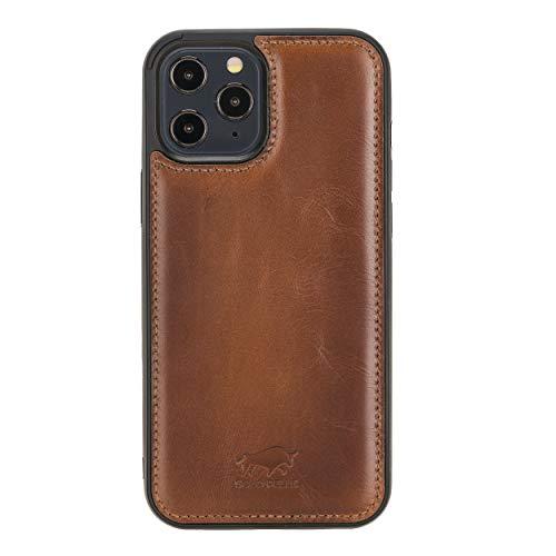 Solo Pelle Lederhülle für das iPhone 12 Pro Max in 6.7 Zoll Stanford Case Leder Hülle Ledertasche Backcover aus echtem Leder (Cognac Braun Effekt)