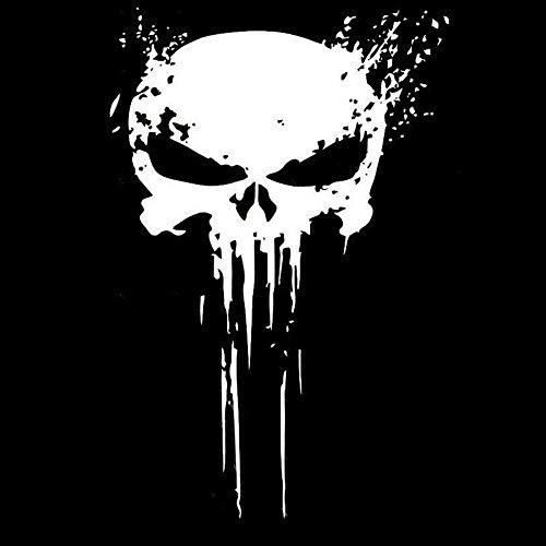 KKmoon Auto Aufkleber Punisher Skull Blood Vinyl Autoaufkleber Auto Motorrad Körper Deko Weiß