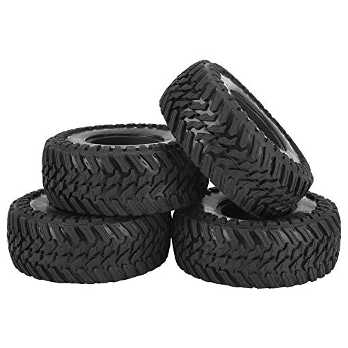 4 Stück RC Auto Reifen, Gummireifen Rad Reifen mit Schwamm für RC Crawler Auto(108mm*45mm)