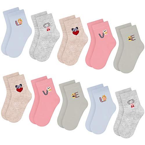 L&K-II 10 Paar Kinder Mädchen Socken aus Baumwolle Kleinkind niedliche Muster Kids Sneakersocken bunt Cotton Baby Girl Socks Toddler Girls Socks 2822 31-34