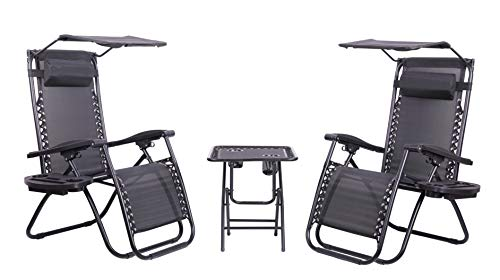 3 Piece Zero Gravity Reclining Garden Patio Deck Chair Sun Lounger Set, 2 Chairs with Tray & Canopy Accessories + 1x Matching Table, Black