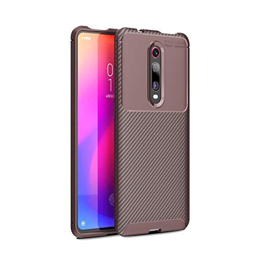 Liluyao Funda telefónica para Xiaomi Funda de TPU a Prueba de Golpes con Textura de Fibra de Carbono for Xiaomi Redmi K20 / K20 Pro (Color : Brown)