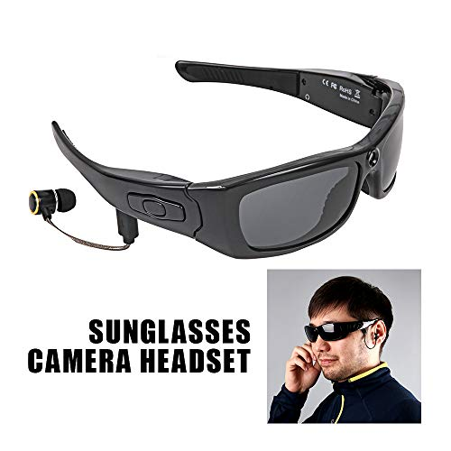 Camara Espia Mini Camara Gafas De Sol con Cámara Auricular Hd1080P Reproductor De Mp3 Bluetooth Foto Grabadora De Video Mini Dv Videocámara para Mini Gafas De Cámara Al Aire Libre