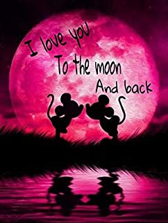 DIY 5D Diamond Painting by Number Kits, Crystal Rhinestone Diamond Embroidery Paintings Pictures Arts Craft for Home Wall Decor, Two Mickey Mouse Kissing Under The Moon (J5693YLMLS-11.8X15.7in)