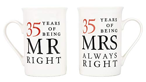 Haysoms Ivory 35th Anniversary Mr Right & Mrs Always Right Ceramic Mugs...
