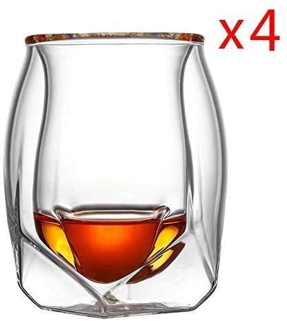 Champagneglas Wijnglas 4 stuks Lot-Brittannië Glen Norlan Whiskey Rock Glass Double Deck Whisky Wijn Cup XO Chivas Brandy Snifer Der Whiskybecher Wholesale wijnglas (Kleur: 4 stuks, Maat: 180 ml)