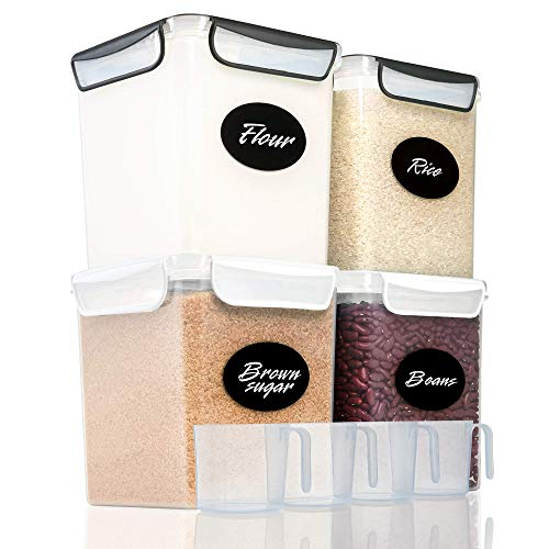4 Large Airtight Food Storage Containers for Flour, Sugar 142oz - Kitchen Pantry Plastic Containers - Air Tight Canisters Set With Locking Lids - 8 Labels, Marker and 4 Measuring Cups(Black,White)