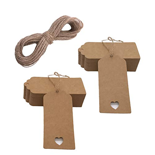 100 pcs Gift Tags Christmas Tree Tags Kraft Paper Hanging Ornament Gift Tags Parcel Tags Luggage Label String Pendant Decal, Brown