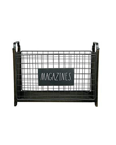 Rae Dunn Magazine Holder - Space Saving Organizer Rack for Books, Files, Folders - Standing Decorative Chic Metal and Wood Storage Container for Home and Office