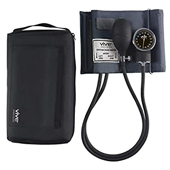 Vive Precision Aneroid Sphygmomanometer with Case - Manual Blood Pressure Checker - Upper Arm Cuff Machine - Professional BPM Device - Adult BP Meter Kit - Handheld Palm Bulb Dial and Gauge Reader