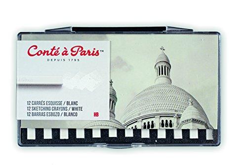 Conté à Paris 50233 12 Count HB Sketching Crayons Set, White