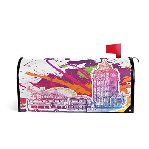 Linomo Briefkasten-Abdeckung, magnetisch, Retro-London-Symbol, Big Ben, Briefkasten-Abdeckung, für Haus, Garten, Hof, Außendekoration, für Übergröße 63,5 x 53,3 cm