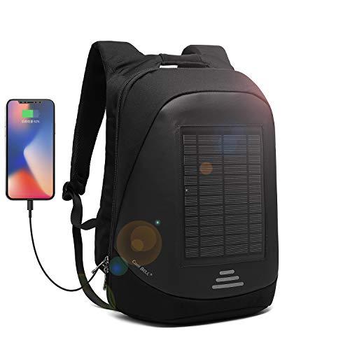 Solaire Sac a Dos 25L Sac a Dos Ordinateur Portable Pour15.6 Pouces Sac Imperméable avec Port de Chargement USB Sac à Dos D'extérieur Sac PC Portable avec Charge de Panneau Solaire de 5 Watts-Noir