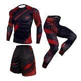 BIBOKAOKE Tuta da jogging da uomo, mimetica, 3 pezzi, con pantaloncini a maniche lunghe e pantaloni, set di tuta sportiva elasticizzata, per il tempo libero Rot6 XL