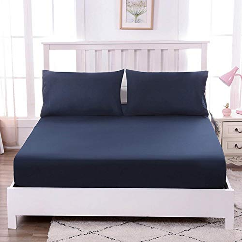 Vommpe - Sábana bajera (180 x 200 cm, algodón, 30 cm, cama de matrimonio, varios colores y tamaños), color azul