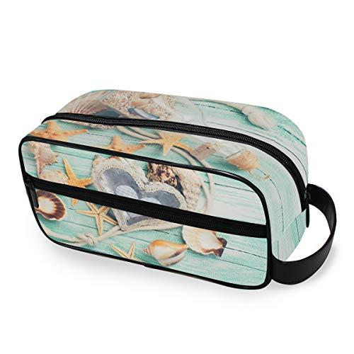 LZXO Kosmetiktasche zum Aufhängen, Muschel, Seestern, Holz, Reisetasche, Kosmetiktasche, Kosmetiktasche, Kosmetiktasche für Herren und Frauen