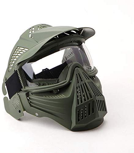 NINAT Tactical Paintball Mask Airsoft Masks Full Face with Clearlens Lens Goggles Eye Protection for CS Survival Games Airsoft Shooting Halloween Cosplay Safety Mask Paintball Green