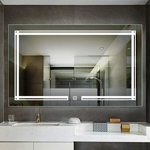 SLRMKK Nordic LED Illuminate Bathroom Mirror, with Smart Touch Switch HD Waterproof Wall Mounted Wall Mirror - for Table Set in Dressing Room/Bedroom/Home