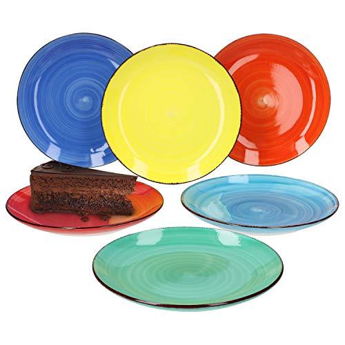 MamboCat 6er Set Dessertteller Colour Power Frühstücksteller Retro-Stil I Ø 19,5 cm I Kuchenteller I 6 Farben I Strudel-Dekor