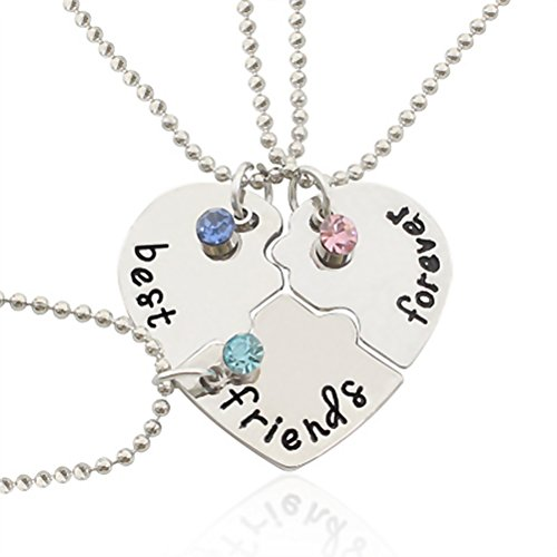 "LUOEM Strass in lega argentata ""best friends forever"" Collana Incisa Puzzle Collane con ciondolo amicizia Set per amici"