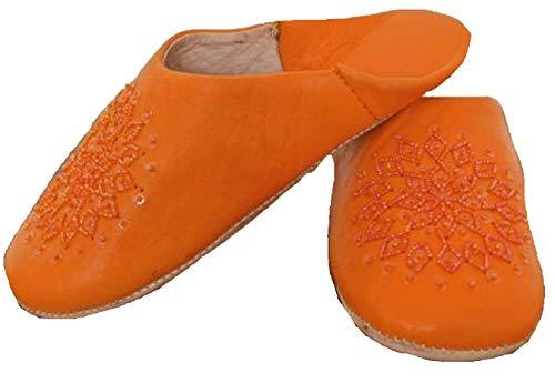 Terrapin Trading Fair-Trade-Damen Marokkanische Babouche Traditionelle Hausschuhe (Orange, Numeric_38)