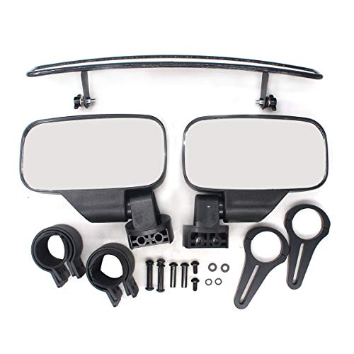 NewYall Right and Left Rear View and Center View Mirror with Adjustable Clamp Grab Handle Set