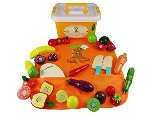 WoodyWood® Kinderküche Zubehör aus Holz, 42 TLG. Obst und Gemüse Spielzeug zum Zerschneiden für Kinder, inkl. Kinderschürze in Aufbewahrungstasche und Box, Holzspielzeug für Kaufladen und Spielküche