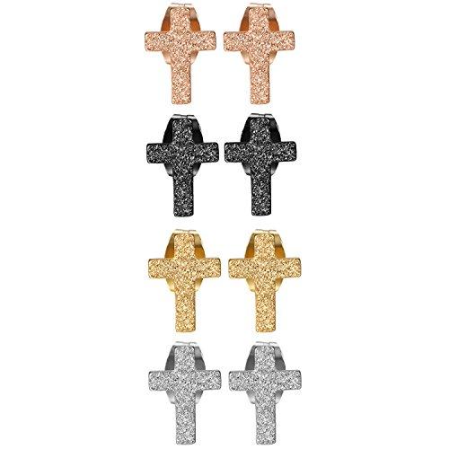Aroncent Oorbellen voor heren, roestvrij staal, kruis, zilver, zwart, roségoud, 4 paar