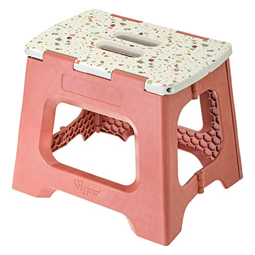 VIGAR - Taburete Plegable Compact Terrazzo on Top de 27 cm de Altura, terrazo on top
